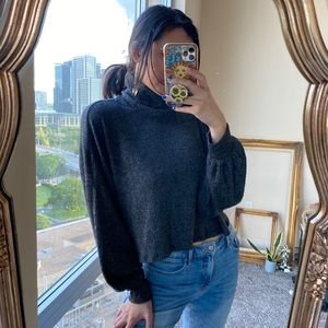 Hollister Turtleneck Gray Ribbed Cropped Sweater
